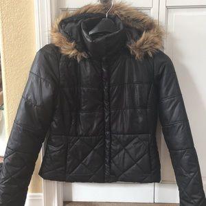 Maralyn & Me Cropped Hooded Puffer Coat Junior L